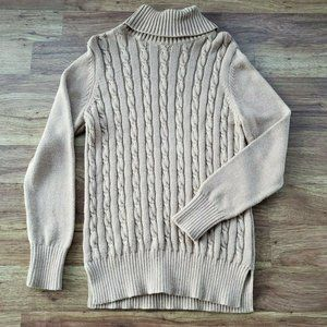LOFT Large Long Tan Cowl Neck Cable Knit Sweater